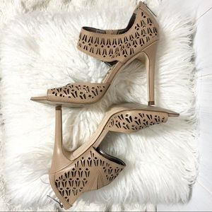 Sam Edelman Alva' Tan Perforated Leather Heels